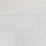 12x24 3D Leaf White - Polished ceramic